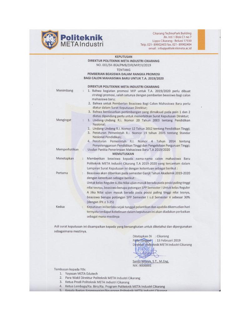 PENERIMAAN BEASISWA DALAM RANGKA PROMOSI BAGI CALON MAHASISWA BARU UNTUK TA 2019/2020