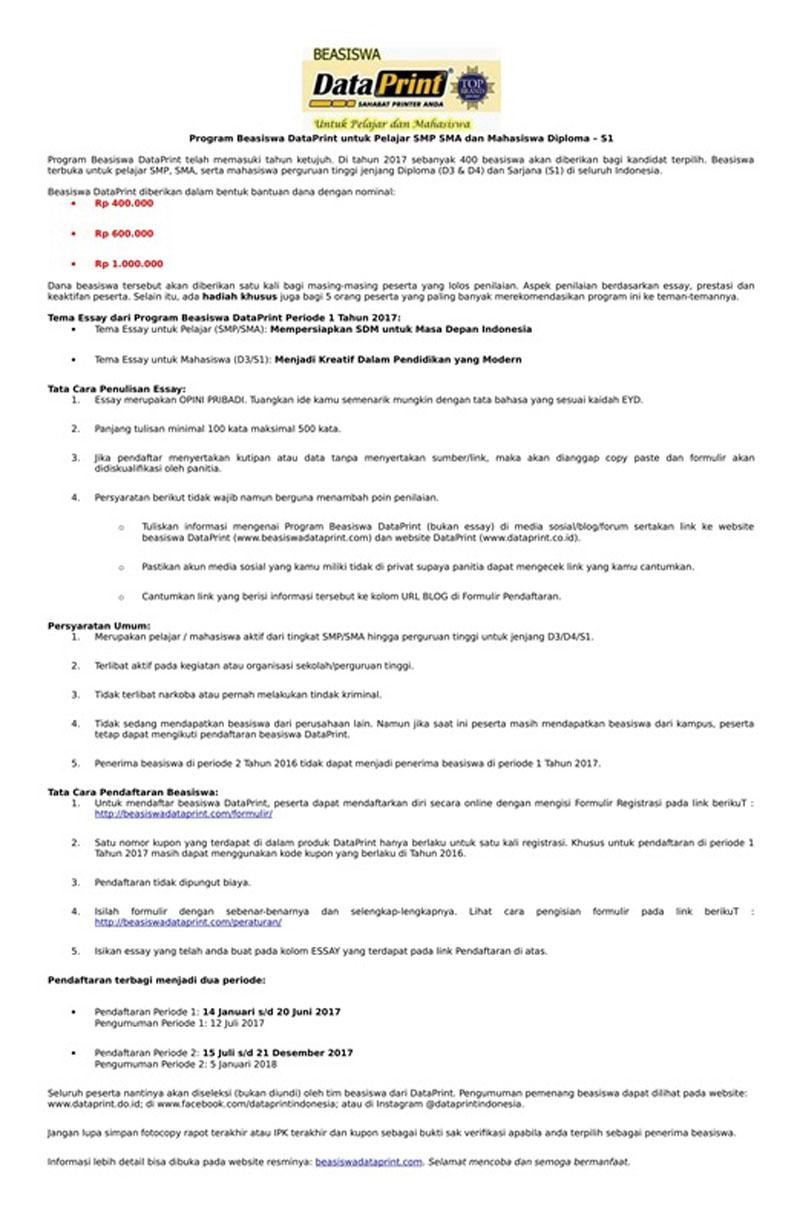 PROGRAM BEASISWA DATAPRINT UNTUK PELAJAR SMP SMS DAN MAHASISWA DIPLOMA – S1