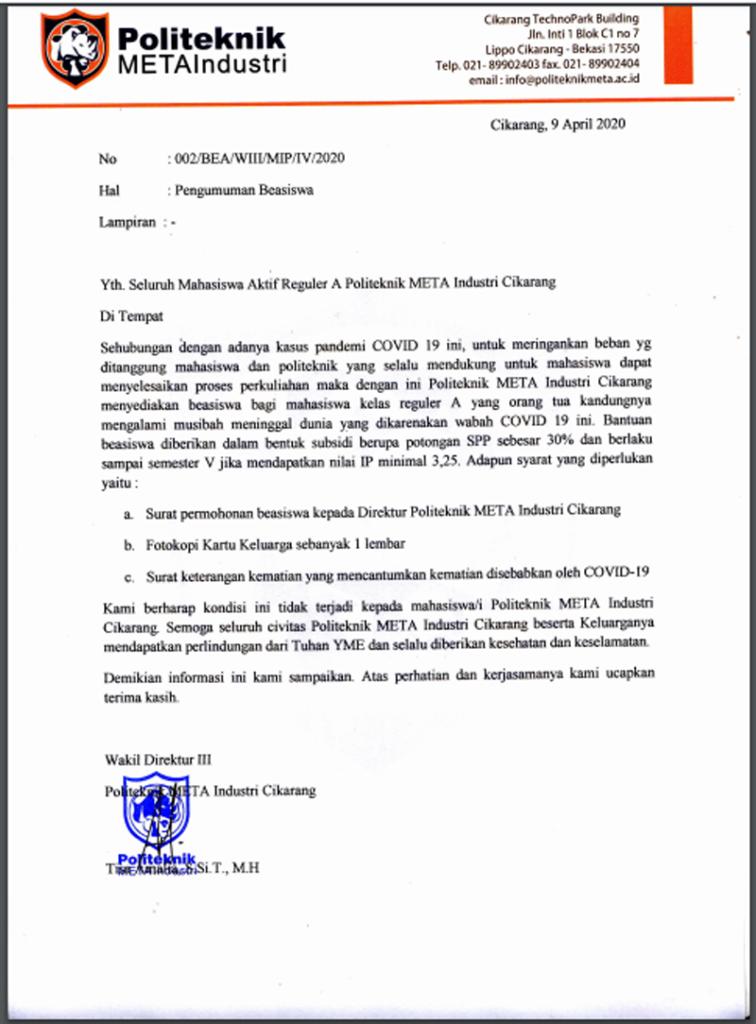 PROGRAM BEASISWA YAYASAN PELAYANAN KASIH A&A KEPADA MAHASISWA POLITEKNIK META INDUSTRI CIKARANG