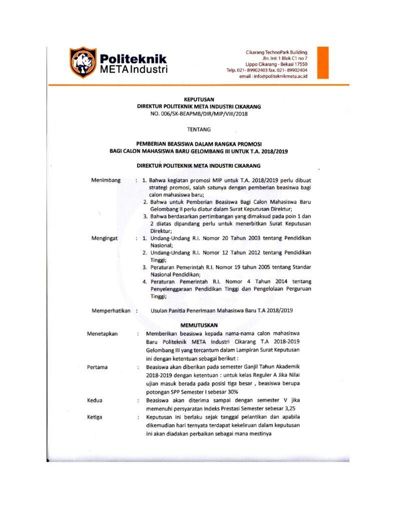 PEMBERIAN BEASISWA DALAM RANGKA PROMOSI BAGI CALON MAHASISWA BARU GELOMBANG III UNTUK T.A. 2018/2019