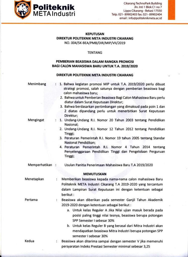 PEMBERIAN BEASISWA DALAM RANGKA PROMOSI BAGI CALON MAHASISWA BARU GELOMBANG II UNTUK T.A. 2019/2020