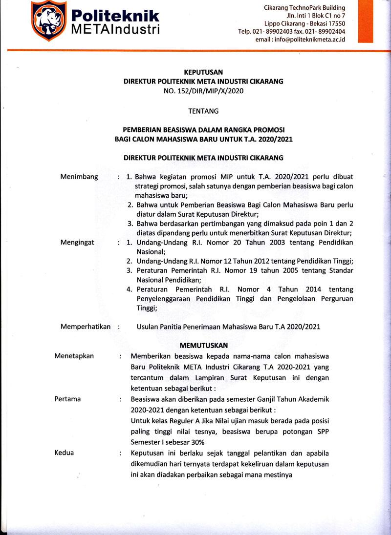 PEMBERIAN BEASISWA DALAM RANGKA PROMOSI BAGI CALON MAHASISWA BARU UNTUK T.A. 2020/2021