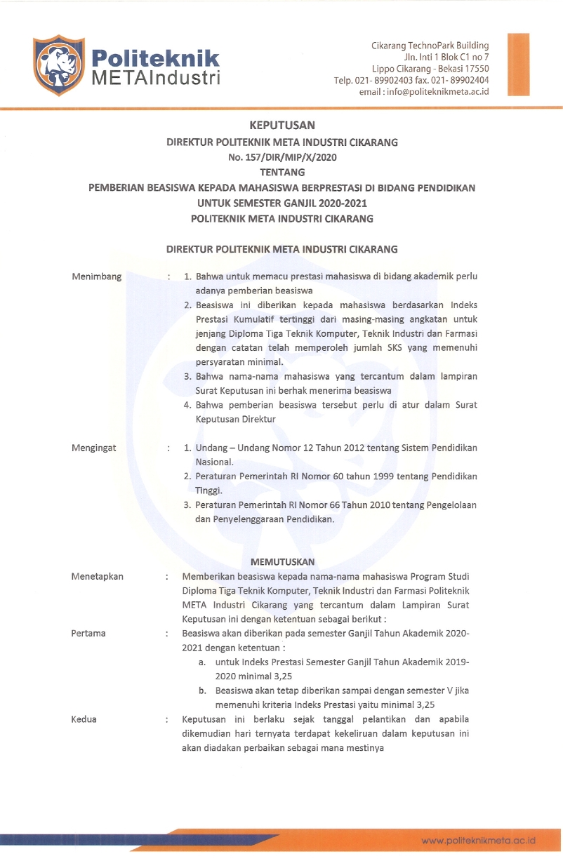 PEMBERIAN BEASISWA KEPADA MAHASISWA BERPRESTASI DI BIDANG PENDIDIKAN UNTUK SEMESTER GANJIL 2020-2021