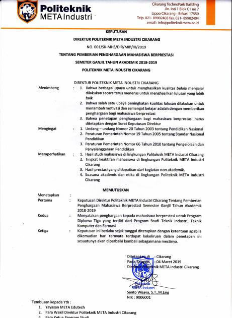 SK DIREKTUR POLITEKNIK META INDUSTRI CIKARANG TENTANG PEMBERIAN PENGHARGAAN MAHASISWA BERPRESTASI SEMESTER GANJIL TAHUN AKADEMIK 2018-2019