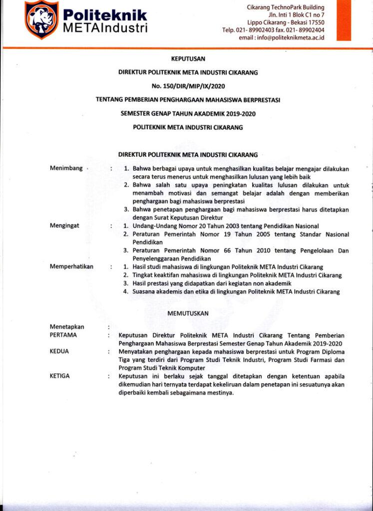 PEMBERIAN PENGHARGAAN MAHASISWA BERPRESTASI SEMESTER GENAP TAHUN AKADEMIK 2019-2020 POLITEKNIK META INDUSTRI CIKARANG