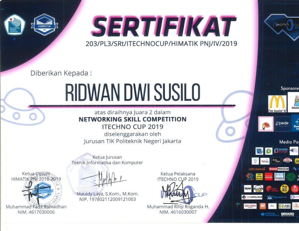 SELAMAT & SUKSES JUARA II NETWORKING SKILL COMPETITION ITECHNO CUP 2019 DISELENGGARAKAN OLEH JURUSAN TIK POLITEKNIK NEGERI JAKARTA