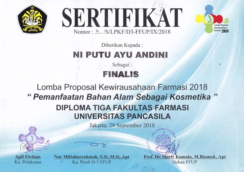 SELAMAT & SUKSES FINALIS LOMBA PROPOSAL KEWIRAUSAHAAN FARMASI 2018 (SERTIFIKAT NOMOR: 41/S/LPKF/D3-FFUP/IX/2018)