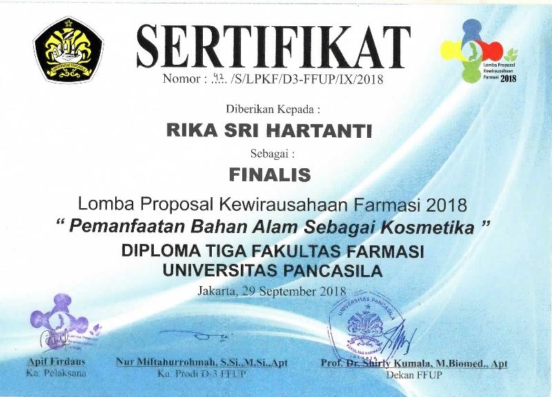 SELAMAT & SUKSES FINALIS LOMBA PROPOSAL KEWIRAUSAHAAN FARMASI 2018 (SERTIFIKAT NOMOR: 42/S/LPKF/D3-FFUP/IX/2018)