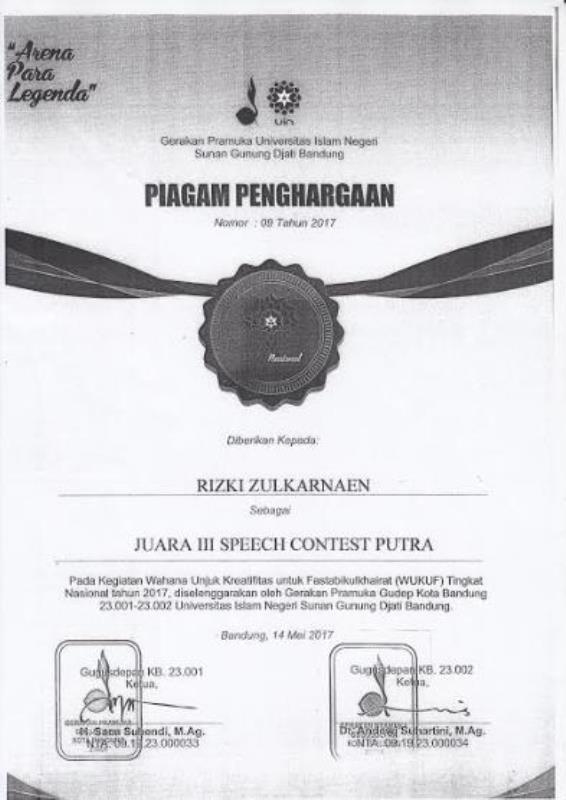 PIAGAM PENGHARGAAN JUARA III SPEECH CONTEST PUTRA
