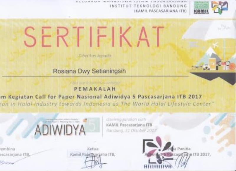 SERTIFIKAT PEMAKALAH DALAM KEGIATAN CALL FOR PAPER NASIONAL ADIWIDYA 5 PASCASARJANA ITB 2017