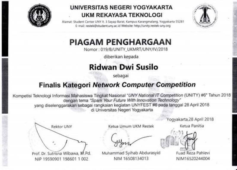 PIAGAM PENGHARGAAN FINALIS KATEGORI NETWORK COMPUTER COMPETITION