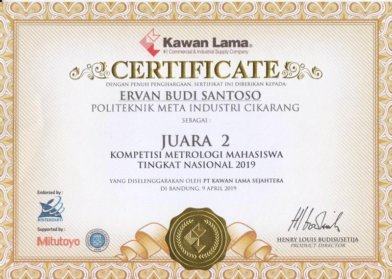 SELAMAT & SUKSES JUARA II KOMPETISI METROLOGI MAHASISWA TINGKAT NASIONAL 2019